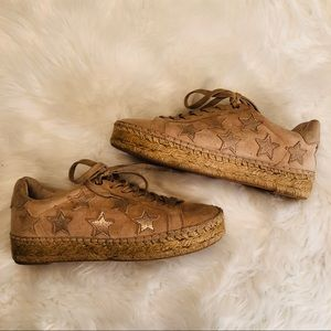 Marc Fisher Marcia Gold Star Suede Espadrilles